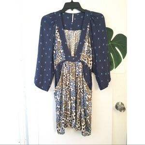 Free People Floral Bell Sleeve Blue Tunic XS